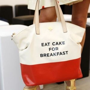 Kate Spade Eat Cake For Breakfast Canvas Tote Bag
